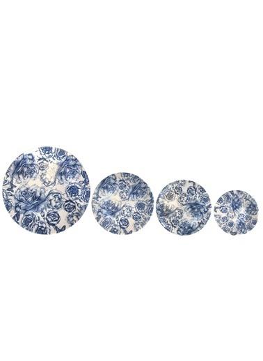 Kosova Mavi Gül 6 Kişilik 24 Parça Yemek Takımı Mavi